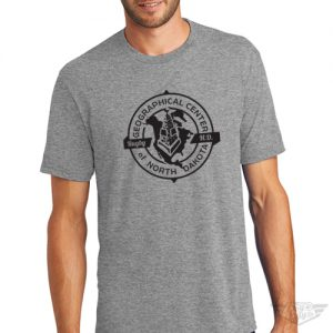 DogDayz Apparel Geographical Center of ND Gray Mens Tee