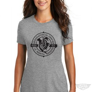 DogDayz Apparel Geographical Center of ND Gray Womens Tee