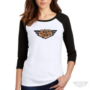 DogDayz Apparel - Raglan Baseball Tee - DogDayz - Women - White Orange