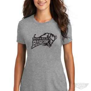 DogDayz Apparel - Tee - Buffalo Bison - Women - Heather Grey